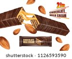 chocolate bar with milk creame... | Shutterstock .eps vector #1126593590