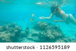 underwater  young woman wearing ... | Shutterstock . vector #1126595189