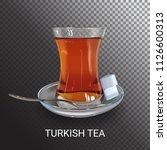 turkish hot black tea.... | Shutterstock .eps vector #1126600313