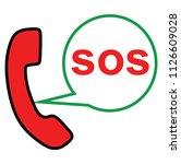 sos call icon vector | Shutterstock .eps vector #1126609028