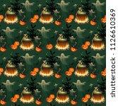 seamless halloween pattern with ... | Shutterstock .eps vector #1126610369