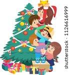 children decorating christmas... | Shutterstock .eps vector #1126616999