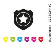 police badge glyph icon vector. ... | Shutterstock .eps vector #1126624460