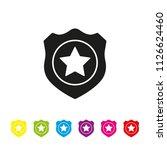 police badge glyph icon vector. ... | Shutterstock .eps vector #1126624460