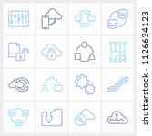 computing icon set and routing... | Shutterstock .eps vector #1126634123
