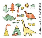 set of cute dinosaur... | Shutterstock .eps vector #1126638368