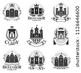 ancient bastions emblems set.... | Shutterstock .eps vector #1126646600