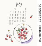 july 2018 calendar with ink... | Shutterstock .eps vector #1126652390