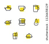 food icons set with beer  tea...
