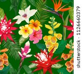 tropical flowers seamless... | Shutterstock .eps vector #1126660379