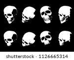 set of hand drawn skull... | Shutterstock .eps vector #1126665314