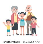 grandparents and three... | Shutterstock .eps vector #1126665770