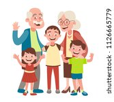 grandparents  grandson and two... | Shutterstock .eps vector #1126665779