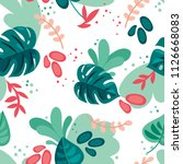 seamless pattern with monstera... | Shutterstock .eps vector #1126668083