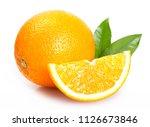 fresh orange isolated on white... | Shutterstock . vector #1126673846