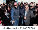 Small photo of Greece's main opposition Radical Left Coalition party leader Alexis Tsipras visits the worker-managed factory Vio.Me. in Thessaloniki, Greece on Feb. 27, 2013.