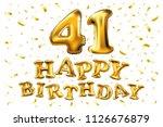 raster copy happy birthday 41th ... | Shutterstock . vector #1126676879