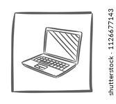 laptop icon vector hand drawn....