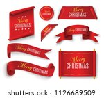 scroll red  merry christmas.... | Shutterstock .eps vector #1126689509