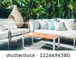 comfortable pillow on sofa... | Shutterstock . vector #1126696580