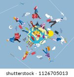 people walking and traveling... | Shutterstock .eps vector #1126705013