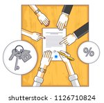 man signs bank mortgage... | Shutterstock .eps vector #1126710824