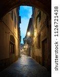 beautiful street in florence ... | Shutterstock . vector #1126721438