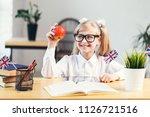 happy smiling girl learning... | Shutterstock . vector #1126721516