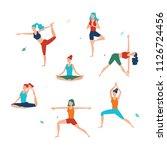women's yoga. vector set of... | Shutterstock .eps vector #1126724456