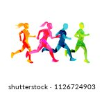 a group of running men and... | Shutterstock .eps vector #1126724903