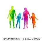 a happy family enjoying walking ... | Shutterstock .eps vector #1126724939