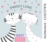 lovely two cats with text sweet ...