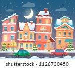 christmas cartoon winter town... | Shutterstock . vector #1126730450