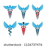 set of vector caduceus symbols... | Shutterstock .eps vector #1126737476