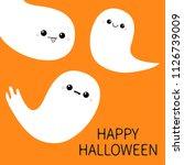 happy halloween. three flying... | Shutterstock .eps vector #1126739009