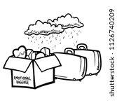 stick figure emotional baggage | Shutterstock .eps vector #1126740209