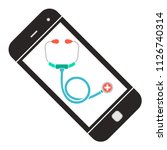 doctor online. smartphone with... | Shutterstock .eps vector #1126740314