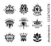 royal symbols  flowers  floral... | Shutterstock .eps vector #1126743578