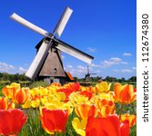 traditional dutch windmills... | Shutterstock . vector #112674380