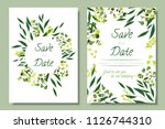 wedding invitation frames with... | Shutterstock .eps vector #1126744310