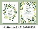 wedding invitation frames with... | Shutterstock .eps vector #1126744310