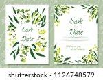 wedding invitation frames with... | Shutterstock .eps vector #1126748579