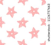 repeating stars drawn by hand... | Shutterstock .eps vector #1126757663