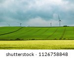 Wind turbines on Dartmoor National Park, Devon, United Kingdom - stock photo