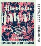 hawaiian style  longboard... | Shutterstock .eps vector #1126761656