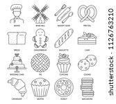 vector set of bakery shop icons ... | Shutterstock .eps vector #1126763210