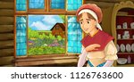 cartoon scene with woman near... | Shutterstock . vector #1126763600