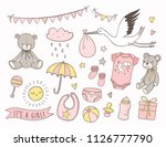 girl baby shower. set of hand... | Shutterstock .eps vector #1126777790