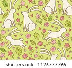 easter pattern with cute... | Shutterstock .eps vector #1126777796