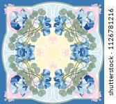 silk scarf with blooming sweet... | Shutterstock .eps vector #1126781216